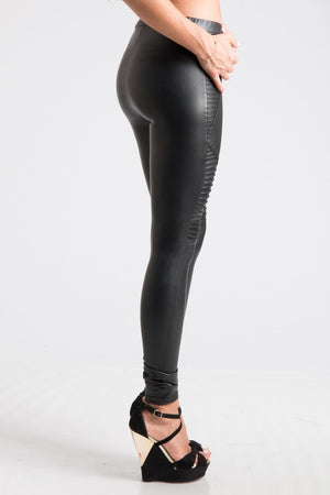 Fleece-lined Pleather Moto Leggings