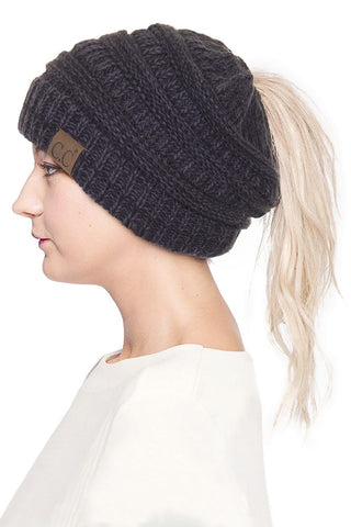Cozy Ponytail Beanie - Knit Multi Color