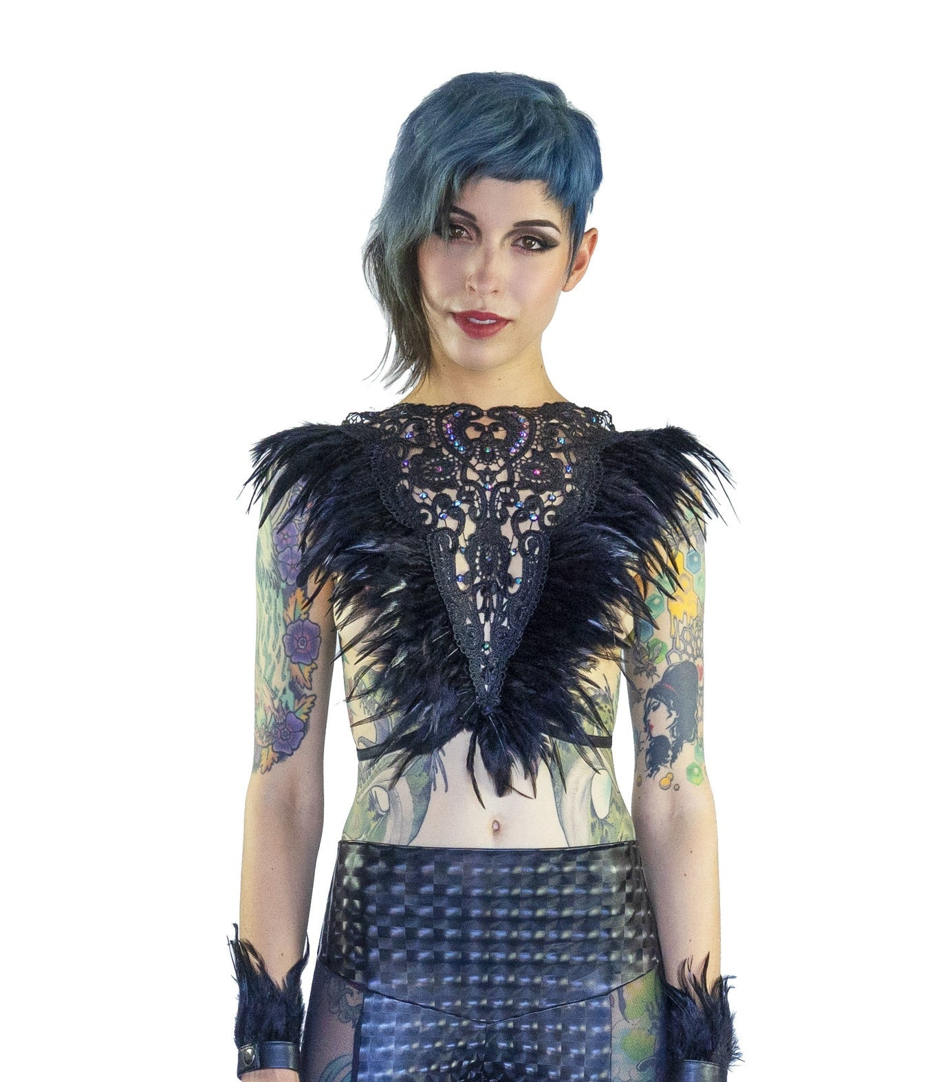 Feather Lace Top- Noir