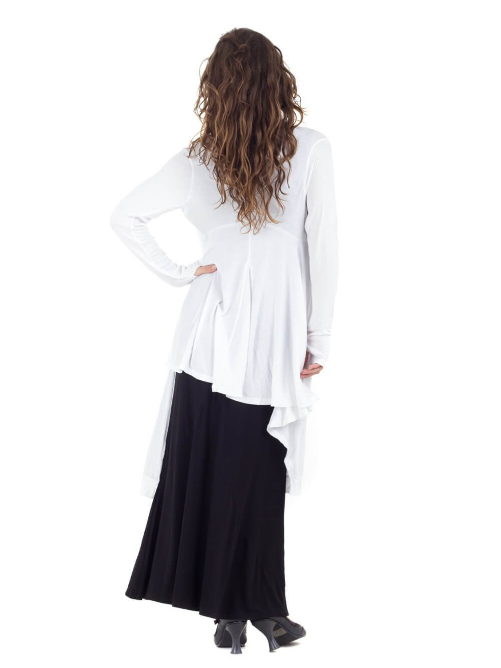 Womens Rayon Jersey Flow Jacket in White with a Rayon Jersey Maxi Dress in Black-back view