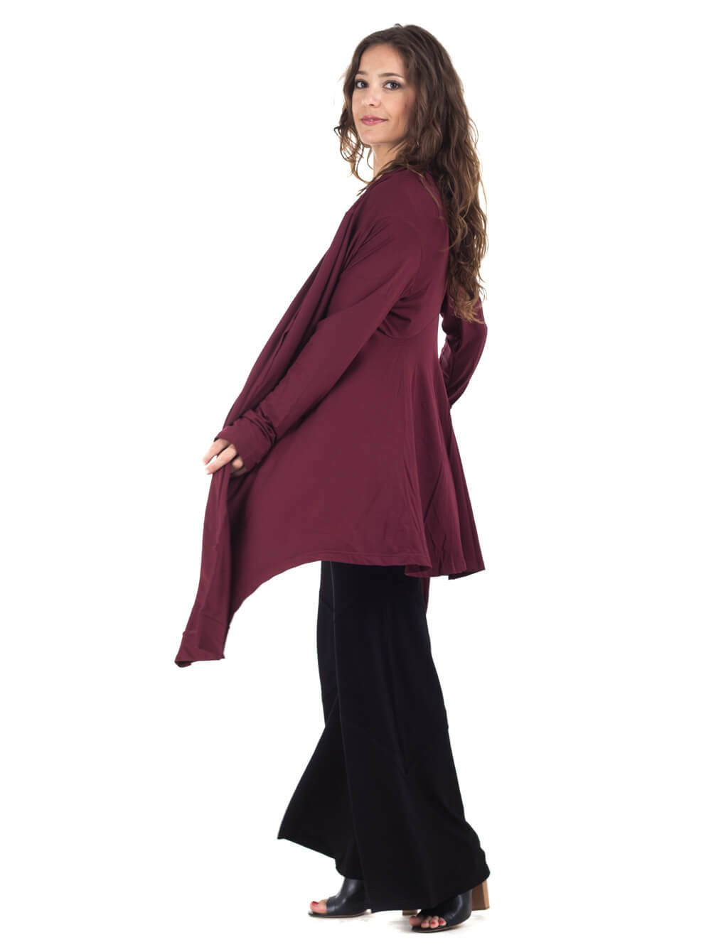 Womens Rayon Jersey Flow Jacket in Wine with a Rayon Jersey Maxi Dress in Black