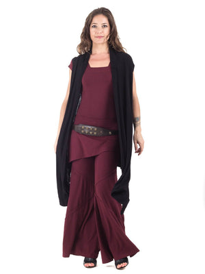 Womens Rayon Jersey Flow Vest in Black with Ballet Top in Wine and Wide Leg Panel Pants in Wine