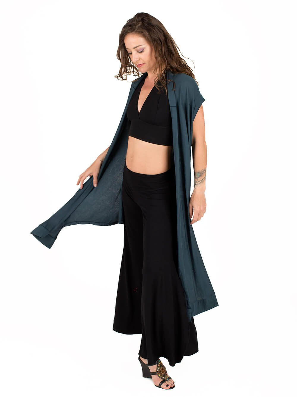 Womens Rayon Jersey Flow Vest in Teal with Halter Bra Top in Black and Rayon Jersey Slit Pants in Black-side view