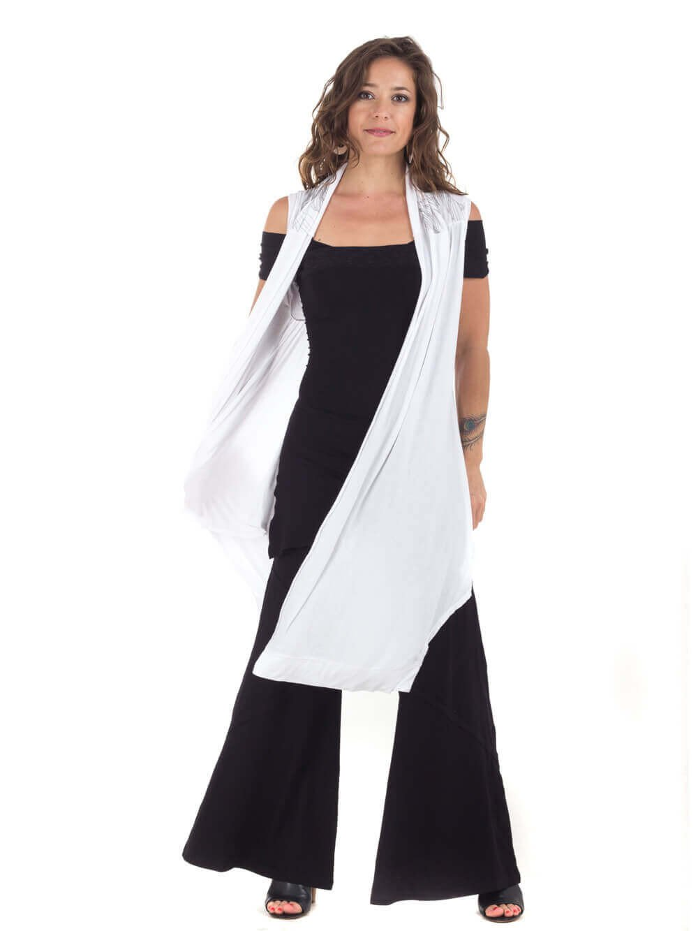 Womens Rayon Jersey Flow Vest in White with Ballet Top in Black and Rayon Jersey Wide Leg Panel Pants in Black