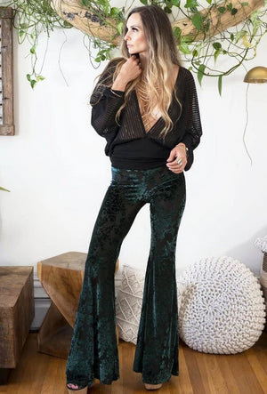 Burnout Velvet Sophie Bells - Dark Green
