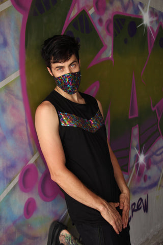 Men's Sequin Rainbow Tank
