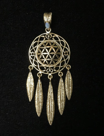 Flower of Life Dreamcatcher Pendant - Brass & Opal