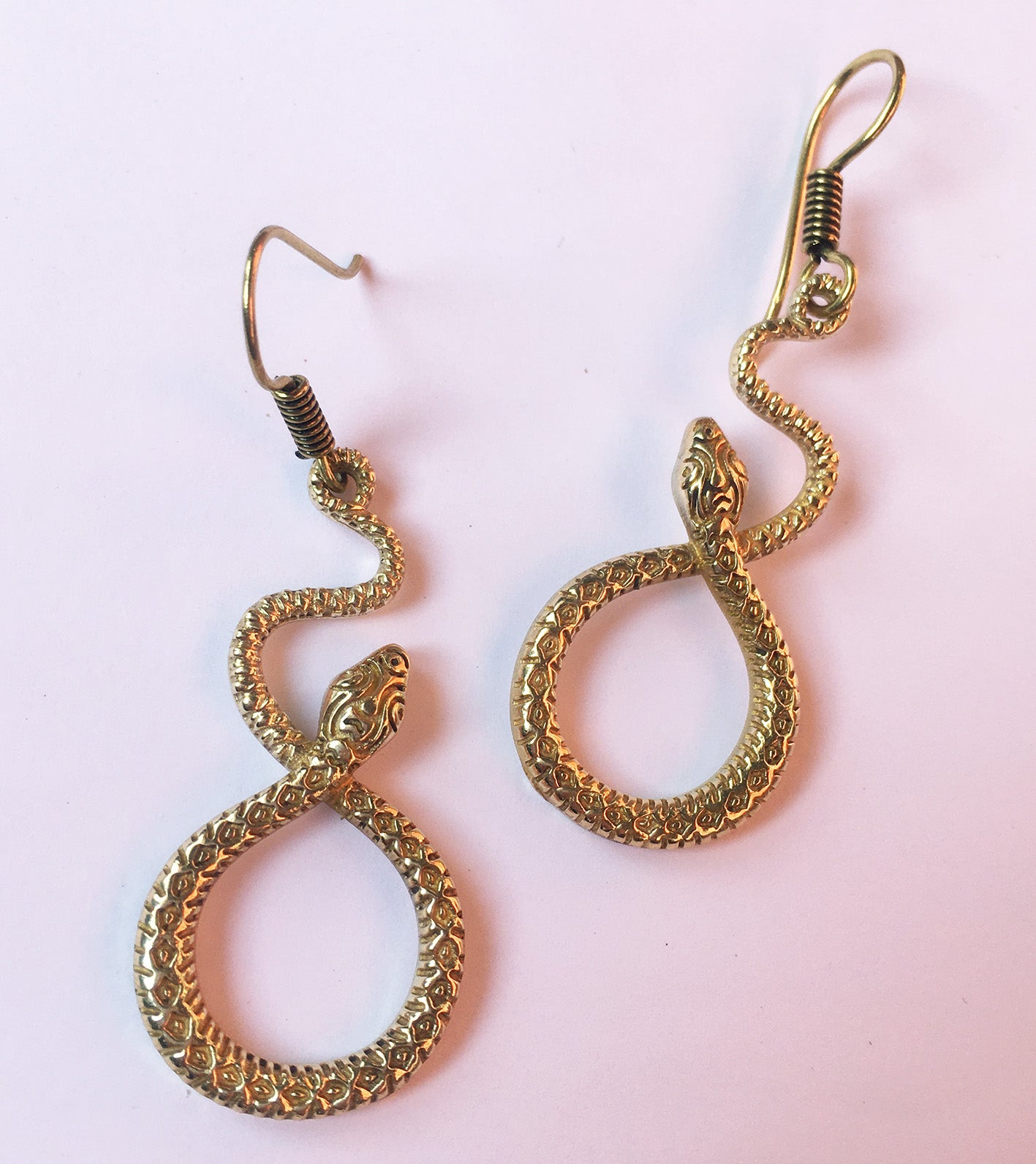 Figure Eight Brass Serpent Earrings