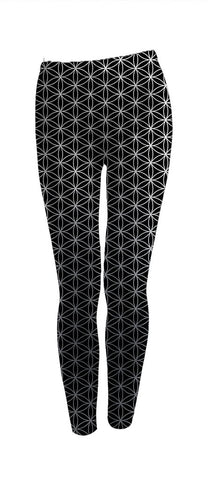 Flower of Life Leggings- Silver & Black