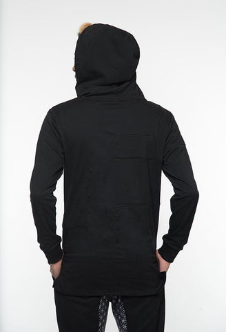 Senusret I - Asymmetrical Hoodie. Understated yet stylin, this all black cotton pull over has asymmetrical fabric panels to add some subtle flare to this affordable addition to your collection. NEW for 2018.