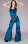 Teal Crushed Velvet Mystique Slim Bell Onesie