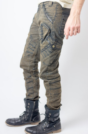 Chiseled Stretch Denim & Leather Pants