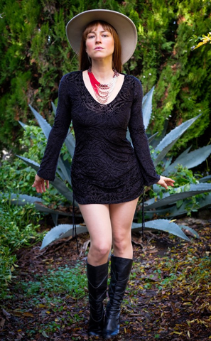 Midnight Burnout Sleeved Echo Cinch Dress