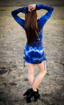 Thunder Sky Suede Sleeved Echo Cinch Dress