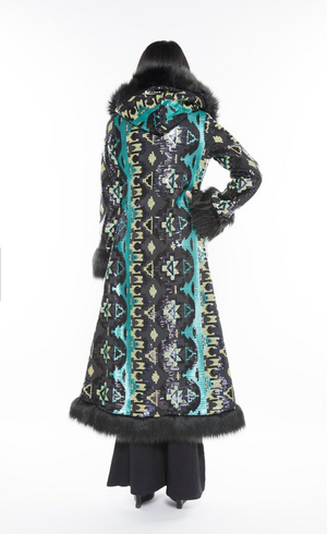 Baroness Teal Aztec Faux Fur Coat