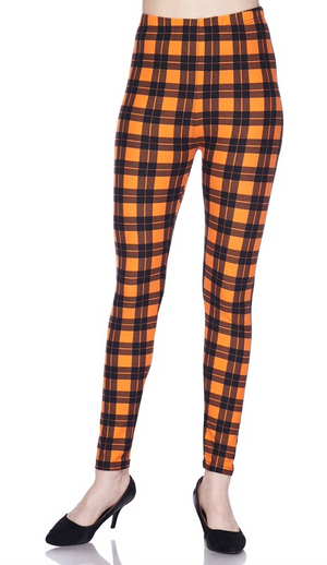 Autumn Leggings - Orange Plaid