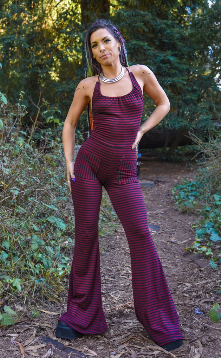 Maroon & Black Stripe Bamboo Engineer Onesie
