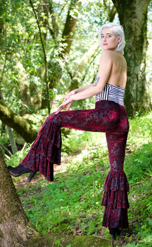 Scarlet Blossom Burnout Velvet Pirate Pants