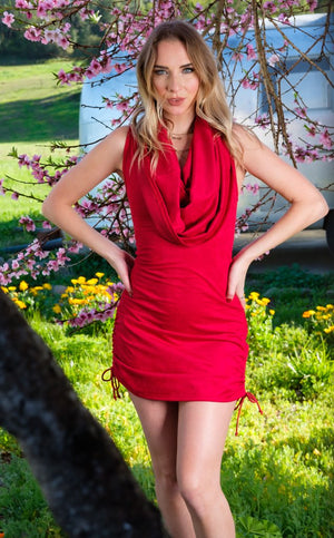 Red Suede Huntress Cinch Dress