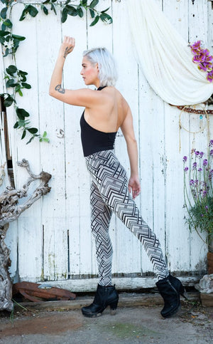 Silver Chevron Burnout Velvet Ladyhawke Leggings