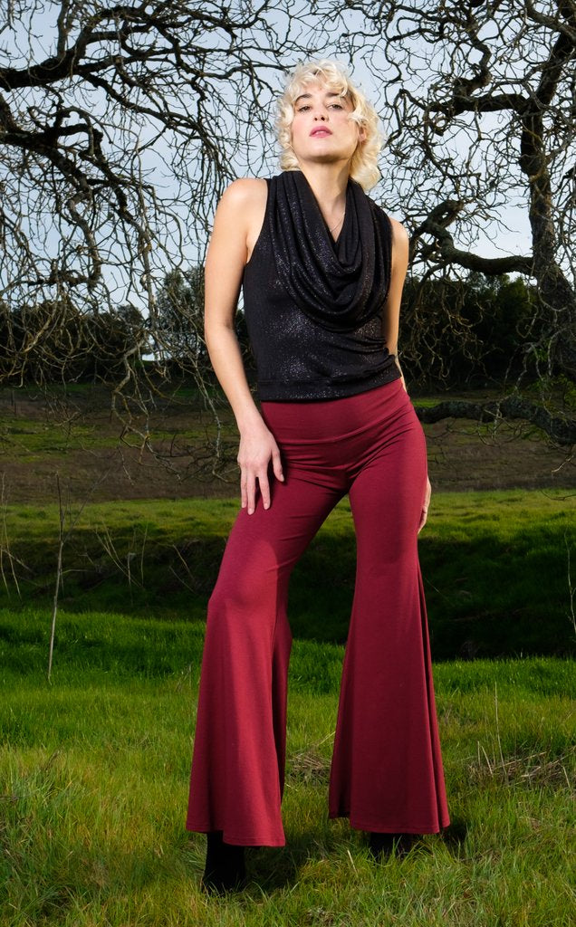 Maroon Bamboo High Waist Big Bells