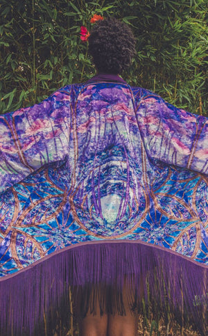 Worlds of Growth Velvet Kimono- Purple
