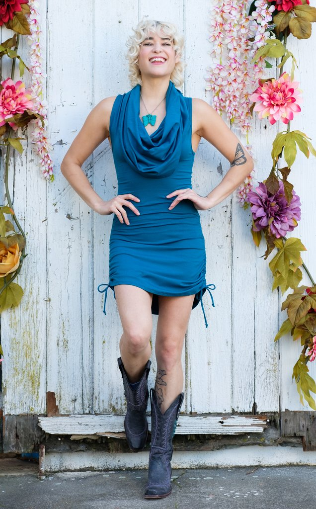 Teal Bamboo Huntress Cinch Dress