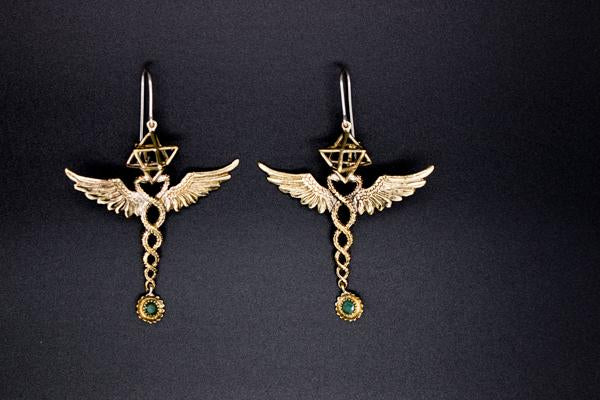 Caduceus Merkaba Earrings- Brass