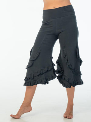 CARAUCCI women's ruffle bloomer pants are shown in dark teal are made from cotton lycra jersey and have a loose fit silhouette.