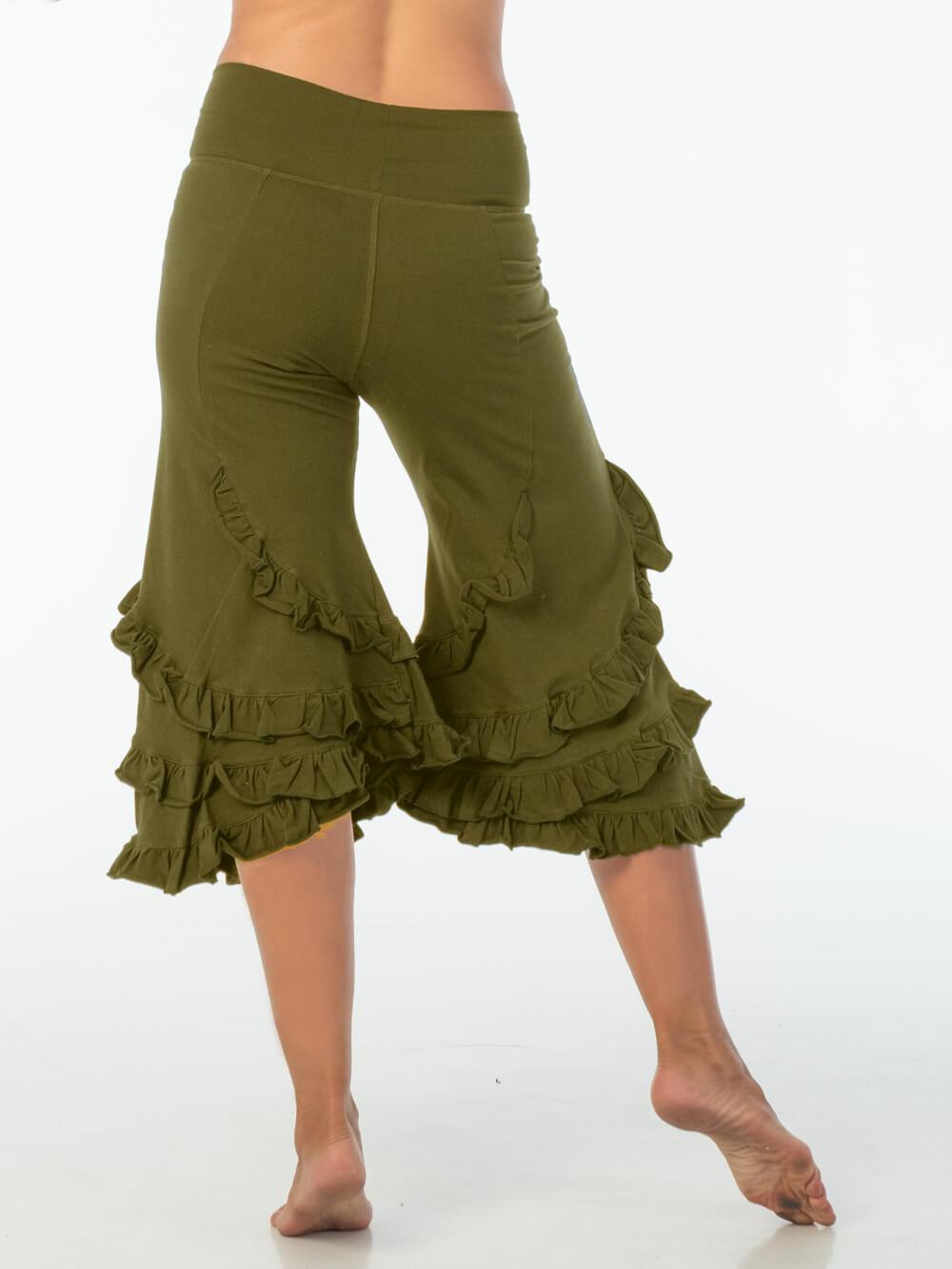 CARAUCCI women's ruffle bloomer pants are shown in olive are made from cotton lycra jersey and have a loose fit silhouette.