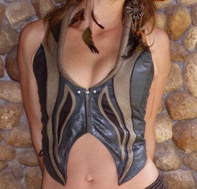 Leather Flame Vest by Zoltan