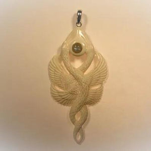 Dancing Serpents Pendant - Bone
