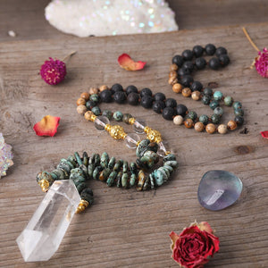 Crystal Mala Amulet - African Turquoise & Lava Rock