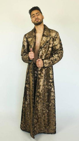Glam Fur Trenchcoat in Gold or Silver