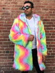 Holographic Rainbow Reversible Festival Coat