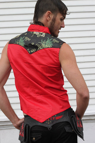 Sleeveless Vest with Asian Print and Brass Sri Yantra Snaps