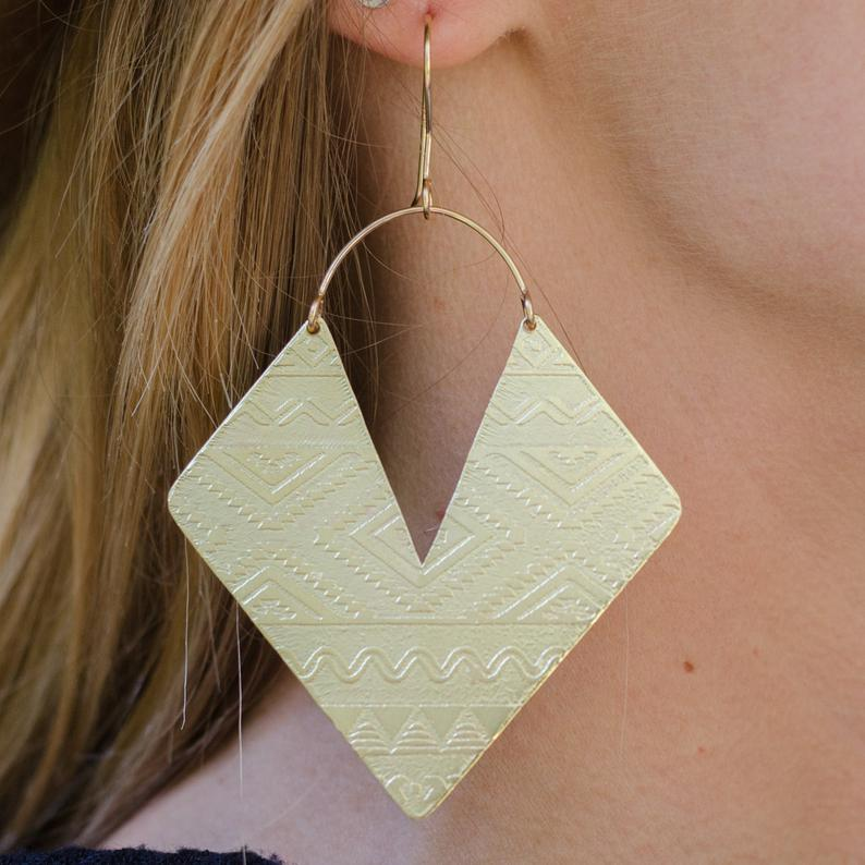 Aztec Brass Earrings