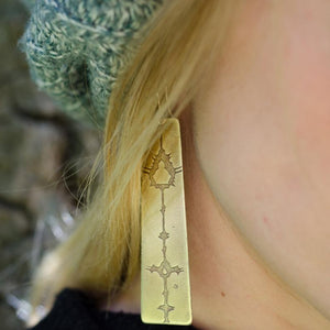 Evandelbrot Patinated Brass Earrings