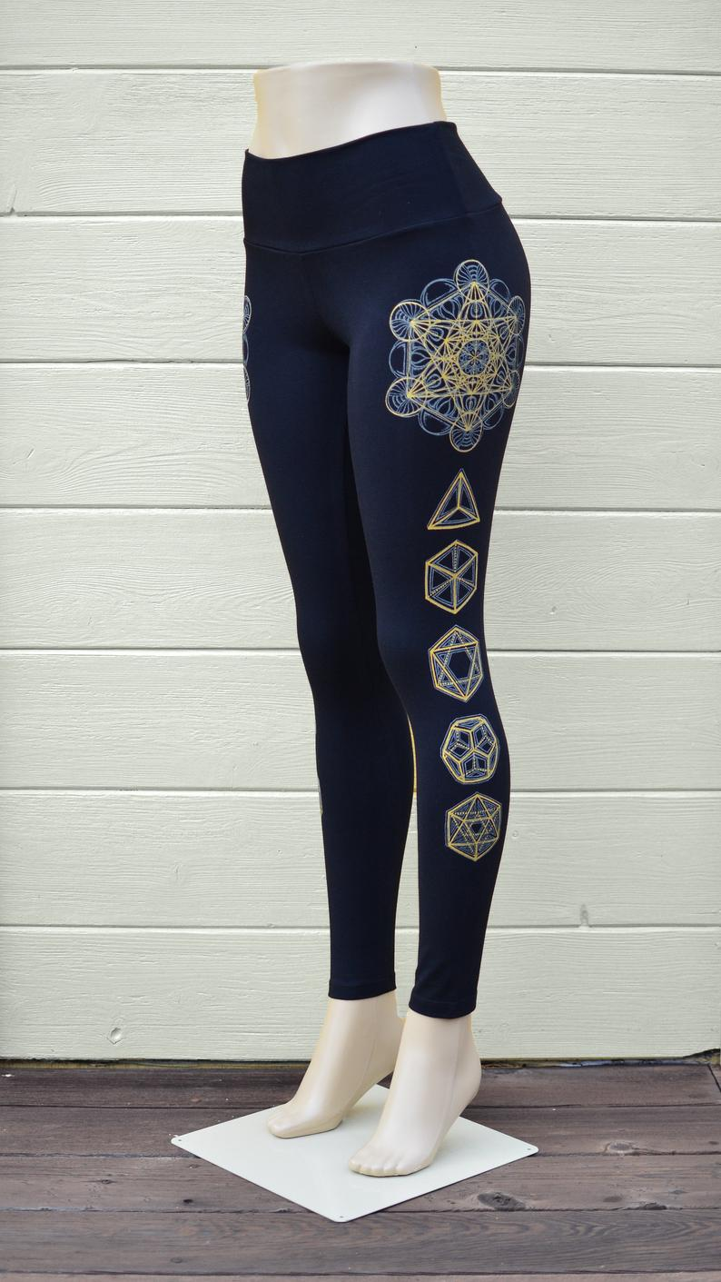 Metatron's Cube and Platonic Solid Leggings