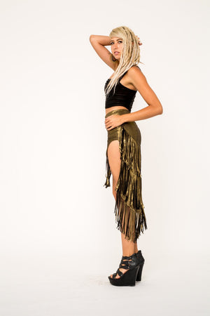 Golden Fringe Skirt by Omni