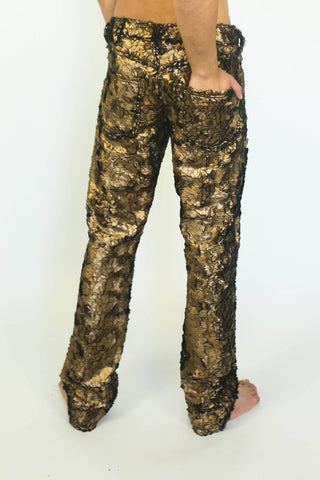 Faux Fur Glam Jeans in Gold or Silver