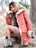 Red Mayan Reversible Festival Coat UNISEX