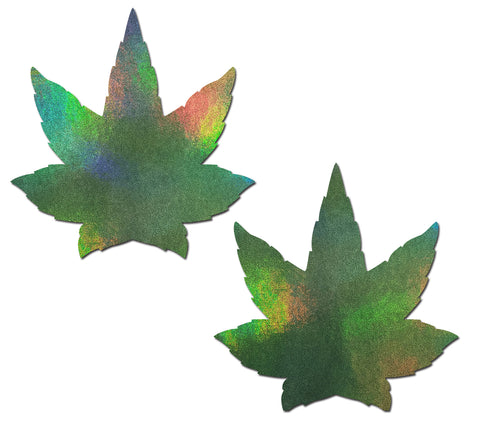 Holographic Weed Nipple Pasties
