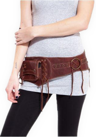 Leather pocket Belt with Lace-Up Detail