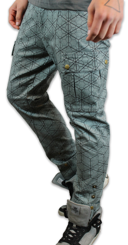 Fruit of Life Geo Cube print Bova Birch Pants by Maddie Moon
