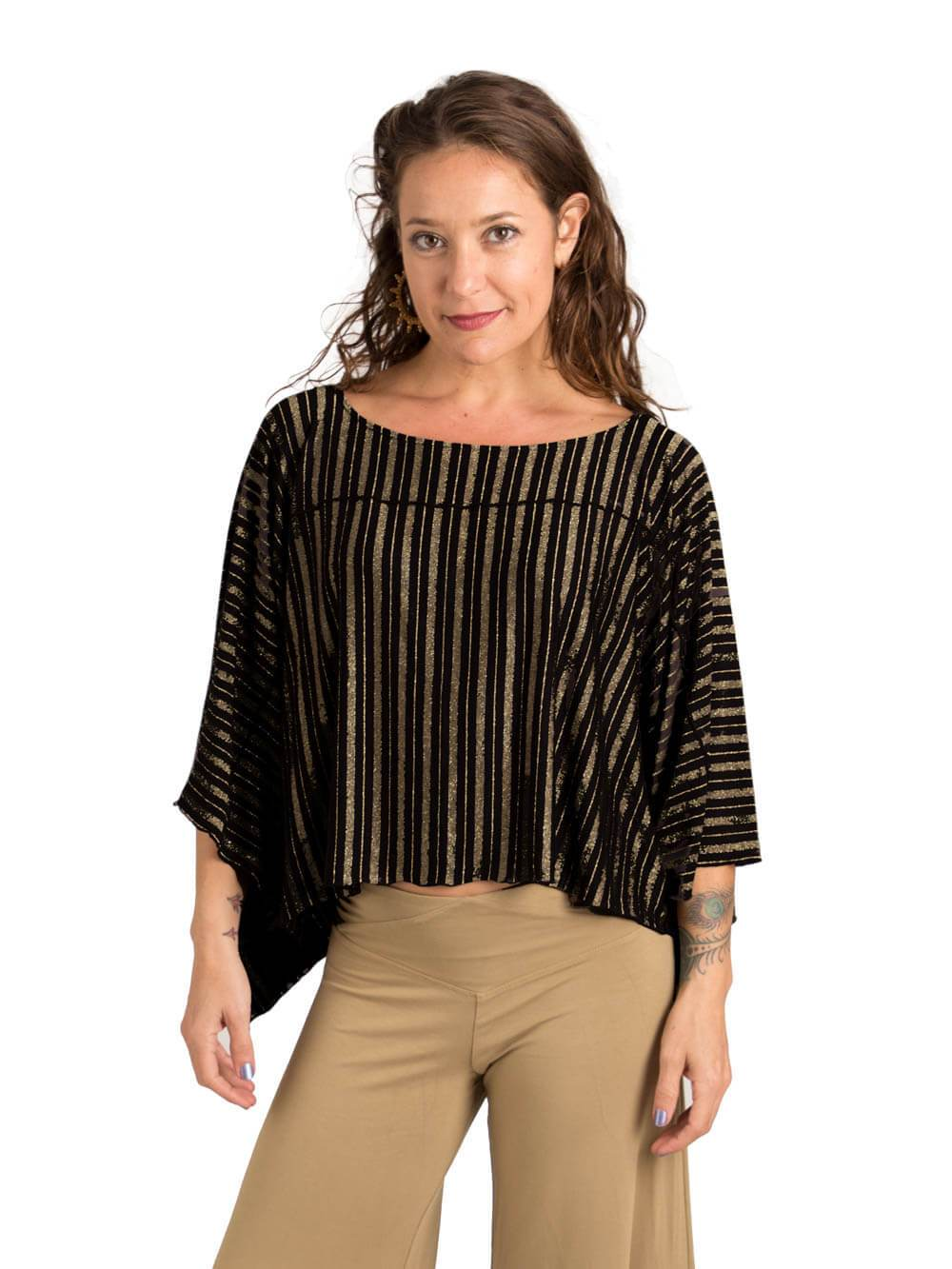 Gold Stripe Poncho Top