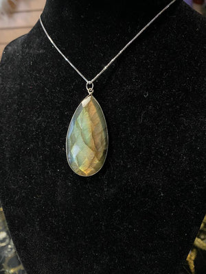 Golden Faceted Labradorite Necklace in Sterling Silver