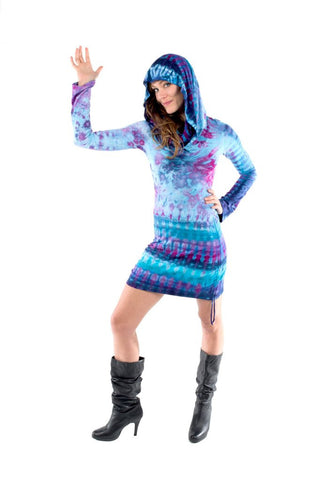 Long Sleeved Tye Dye Huntress Cinch Dress - Funk & Flash