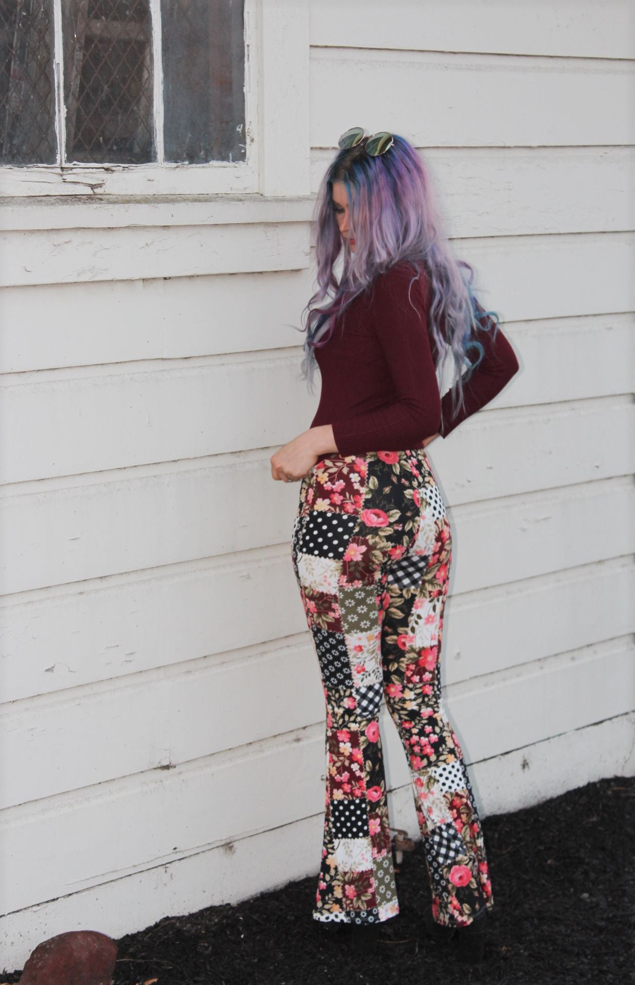Patchwork Flowers High-Waisted Bells