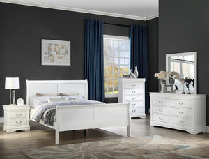 Louis Philip White 7 Piece Queen Bedroom Set (With Mattress Set) Crown Mark